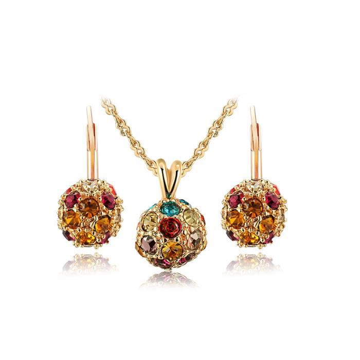 3PCS Ensemble Parure Placage à lor rose Ballon incrusté cristaux colorés Femme Collier et boucles doreilles 80