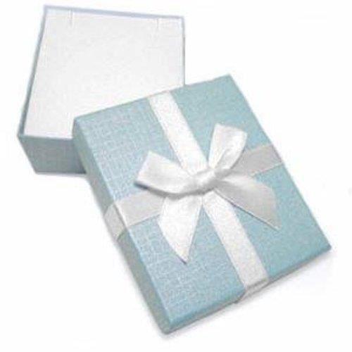 Or blanc 14 carats et diamant Blanc Bleu-Pendentif Coeur