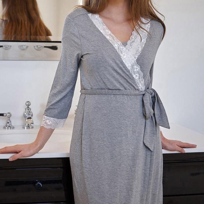 Nuit Femmes La Dentelle Pour Maternité Rob Dress Bébé Casual Infirmière Foncé De Pyjama Pregnants Gris AASrv