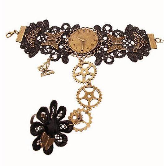 Bracelet bague noir en dentelle, horloge, papillons et rouages, steampunk élégant aille unique Noir