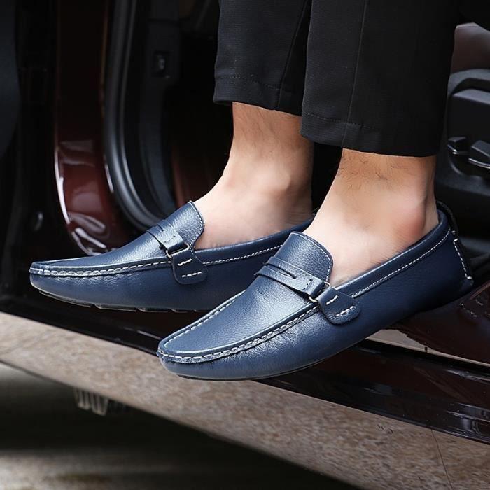 Respirante et confortable Mode Hommes Mocassins en cuir Casual Flat plus Taille 38-48,bleu,42,3193_3193