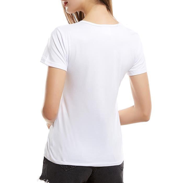 Manches Cartoon shirt Animal T En Filles Haut Blanc Coton Courtes Dames T6xqRSUnBw