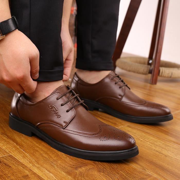 Chaussures d'affaires pour hommes Mocassins Oxford Chaussures en dentelle ronde nN9YTQzE