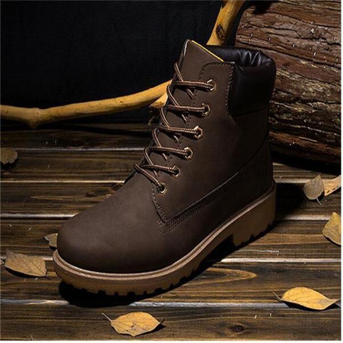 Martin Bottines Femmes Confortable Classique En Cuir Peluche Boots BCHT-XZ031Marron40-jr