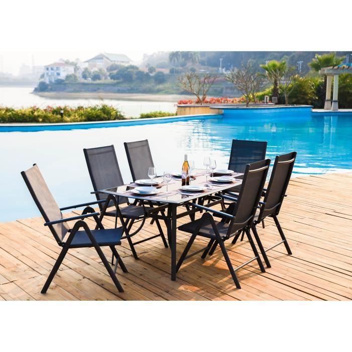 Ensemble repas de jardin 6 personnes - structure acier - Table 180x90 cm avec plateau en verre + 6 f