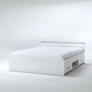 STRUCTURE DE LIT ZODIAC Lit adulte contemporain blanc mat - l 140 x