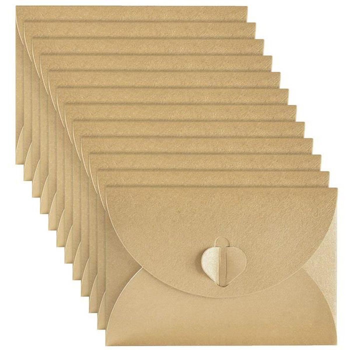 ENVELOPPE 50 Pieces Mini Enveloppes De Papier Kraft Avec Fer
