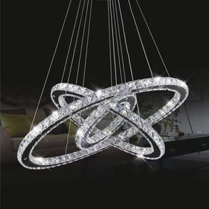 LUSTRE ET SUSPENSION 100W Lustre,3 anneaux Ø 70*50*30CM LED Cristal pla