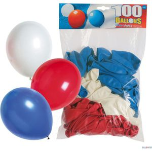 BALLON DÉCORATIF  Sachet De 100 Ballons Bleu-Blanc-Rouge