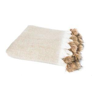 COUVERTURE - PLAID Plaid en lin Lilou 125x150 cm beige, blanc et marr