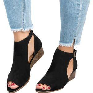 SANDALE - NU-PIEDS Minetom Femme Mode Sandale Sandals Peep Toe Talon
