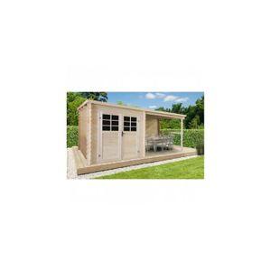 MAISONNETTE EXTÉRIEURE Solid Abri de jardin Camélia toit plat avec auvent
