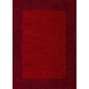 TAPIS VEGA Tapis de salon Shaggy - 80 x 150 cm - Rouge