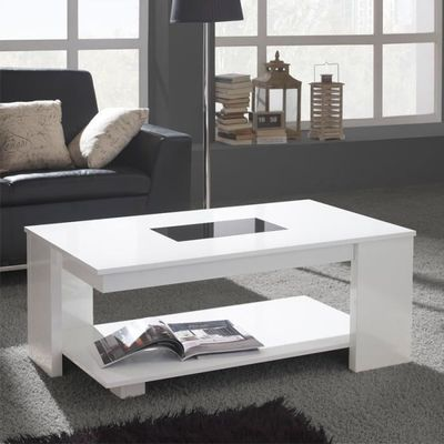 table basse relevable blanche - dipa - taille : l 110 x l 60 x 44