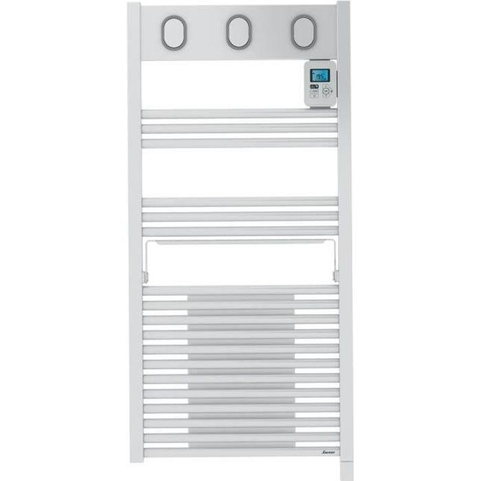 SAUTER Marapi Radiateur Sèche-serviettes électrique avec soufflerie - 1500 watts - Ecran LCD - Programmable -Tubes ronds