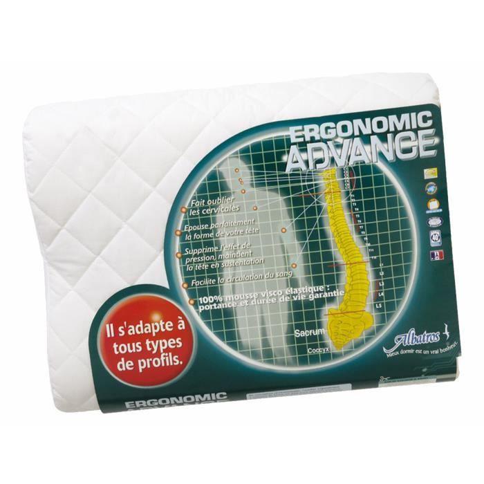 oreiller ergonomique albatros Oreiller ergonomique mémoire de forme env matelassée coton  oreiller ergonomique albatros