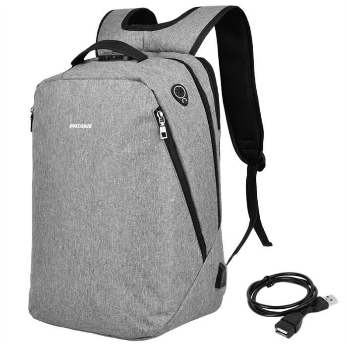 Sac à dos pour ordinateur portable Anti-voleur école, USB Port de charge la conception, gris