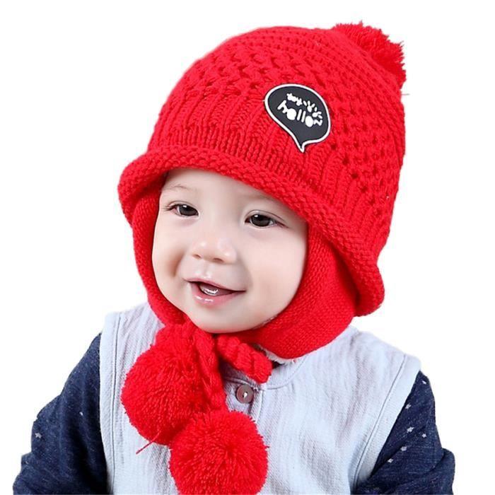 035116c8fe1 MiVogue Bonnet Pour Bébé Hiver Cache Oreille Petit Enfant Garçon Fille  Crochet En Laine Tricoté Chaud-068-Rouge