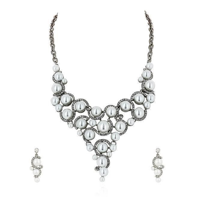Parure Femme - Bijou Fantaisie Métal - Perle, Cristal
