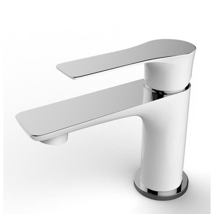 ESSEBAGNO Robinet mitigeur lavabo - Blanc chromé - Achat / Vente ...