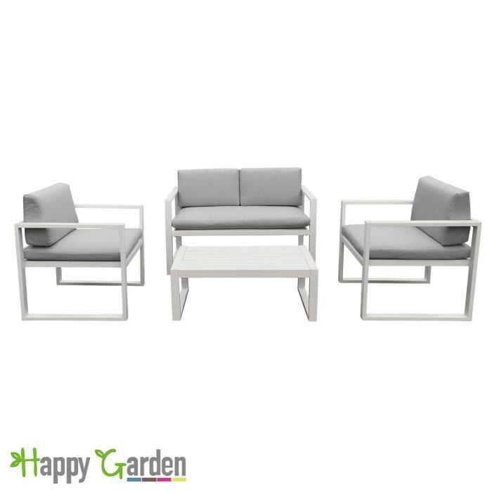 Salon de jardin IBIZA en tissu gris clair 4 places ...