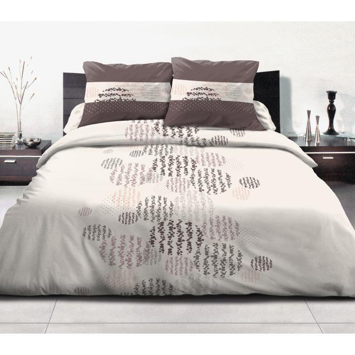 attractive housse de couette beige et marron 3 parure de couette 100 coton astre 1 housse. Black Bedroom Furniture Sets. Home Design Ideas