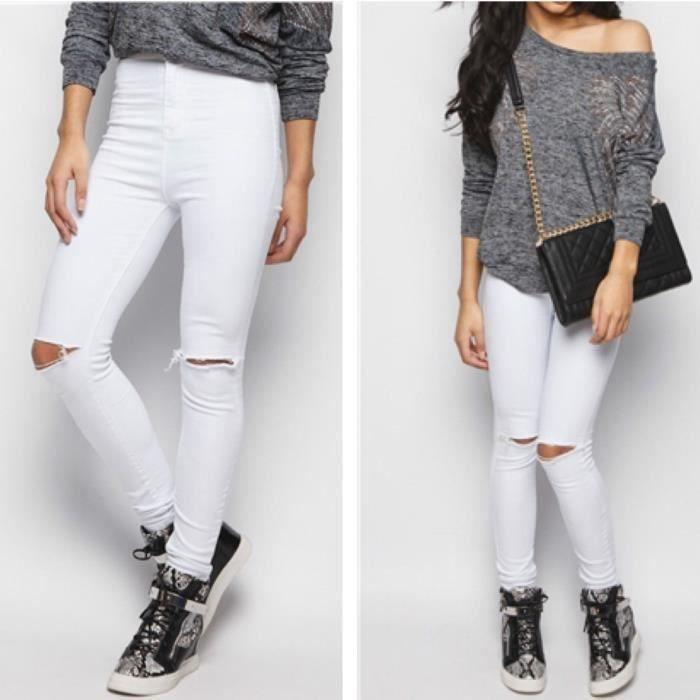 Blanc Pantalon Skinny En Denim Déchiré Trou Aux Genoux Taille
