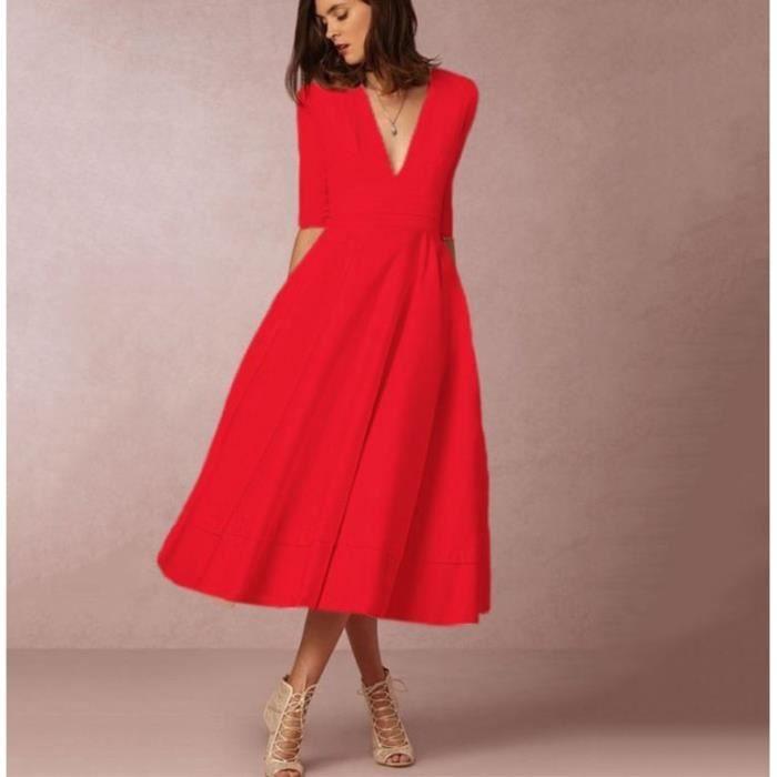 Col V robe robe sexy en robe à manches longues