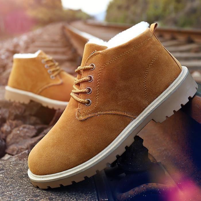 Chaussures fourrure de plein Mode neige de air Hommes Bottes British chaud Vintage xqTwtF48FA