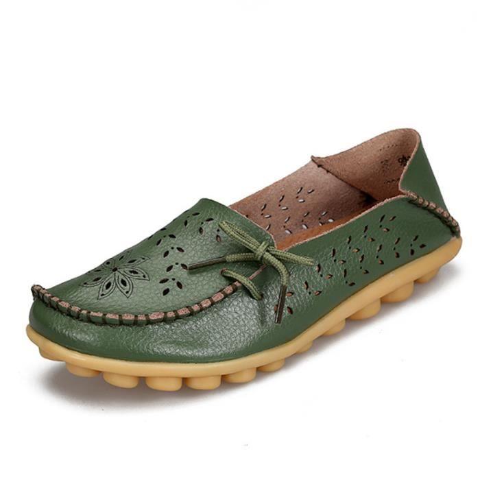 Mocassin Femmes ete Loafer Ultra Leger Respirant Chaussures BGD-XZ051Vert41