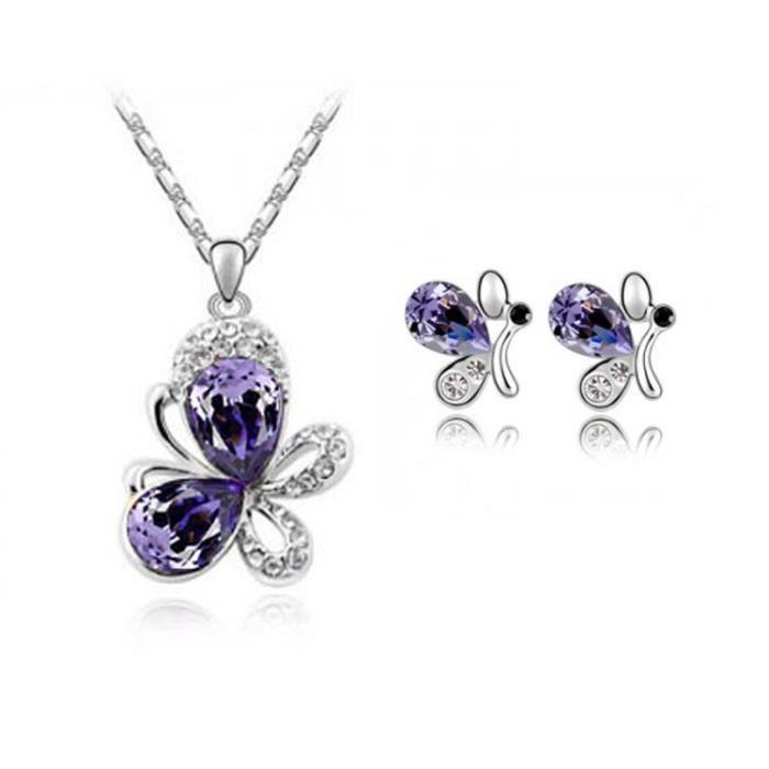 Parure papillons cristal swarovski elements plaqué or blanc Couleur Violet