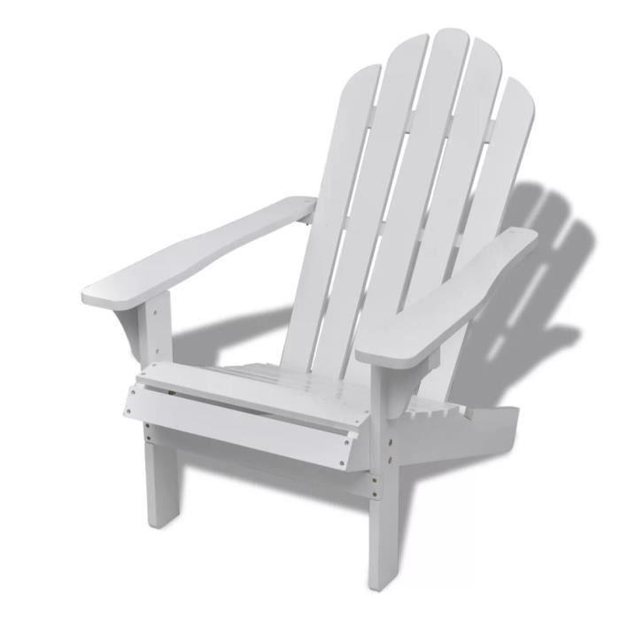 Chaise de salon jardin en bois blanche chaise relaxation Blanc ...