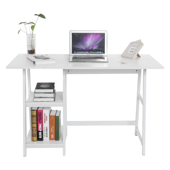 Bureau informatique Table d'ordinateur Bureau multifonction pour ordinateur portable - Blanc