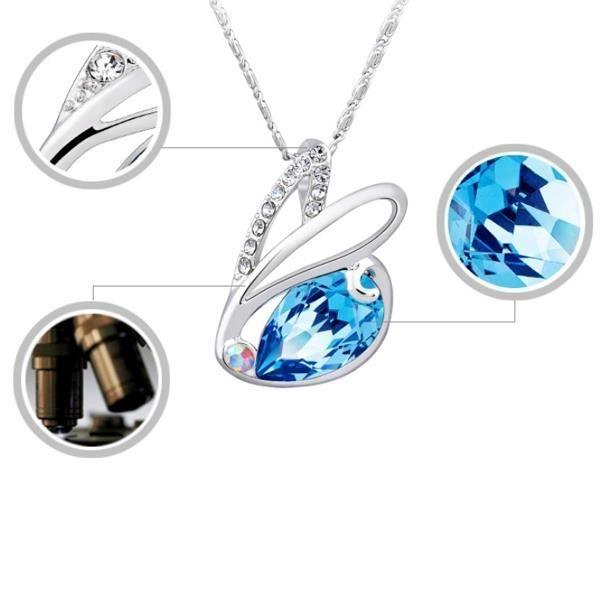 Pendentif Lapin en Cristal de Swarovski Elements Bleu et Plaqué Rhodium
