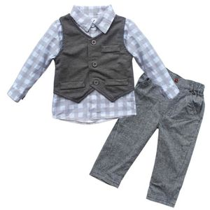 Ensemble de vêtements Nouveau-né Garçon Bébé Costume Gilet + Pantalons +