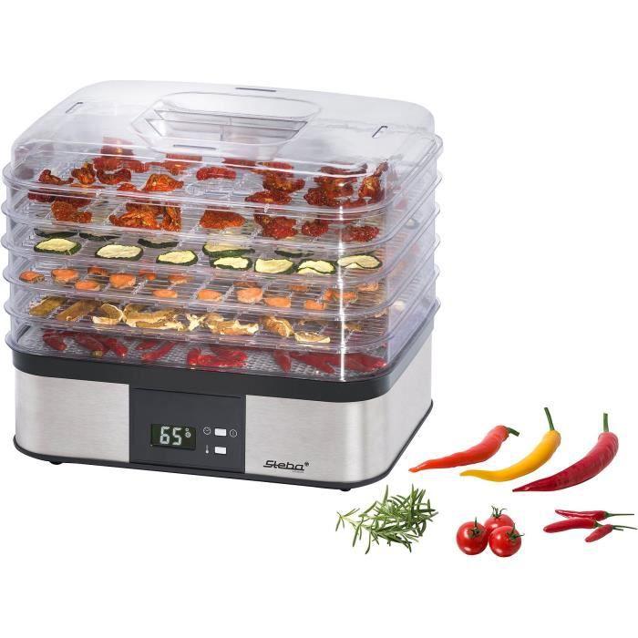 STEBA 055500 ED5 Séchoir à fruits électronique - 350 W - Surface de séchage 5 x 32 x 25 cm - Inox et
