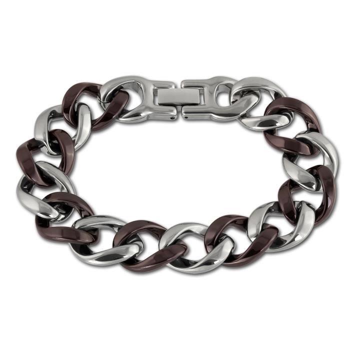 Amello bracelet en acier inoxydable gourmette brun rouge - bracelet en acier inoxydable pour femmes