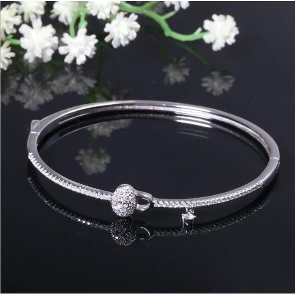 moins cher magasiner pour authentique bonne vente Bracelets 925 bracelet en argent femme simple personnalité sauvage  accessoires bracelet de verrouillage de diamant