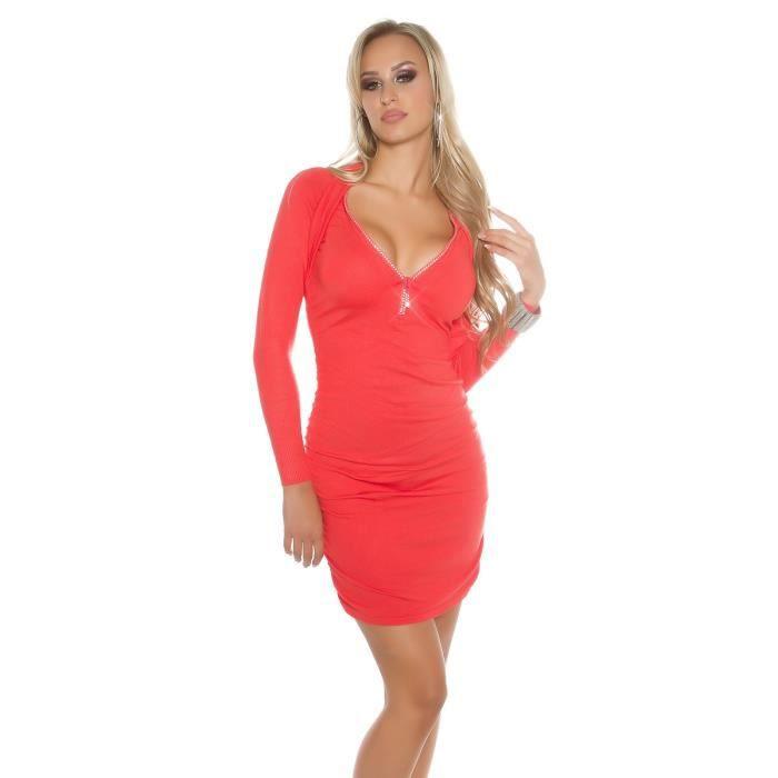 Sublime robe 2 en 1 col zippé en strass, disponible en taille unique du 36 au 42, 6 coloris au choix