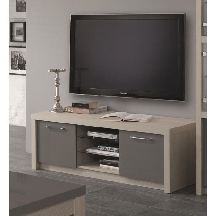 Meuble TV couleur chêne blanchi et gris laqué moderne GAIA L 150 ...