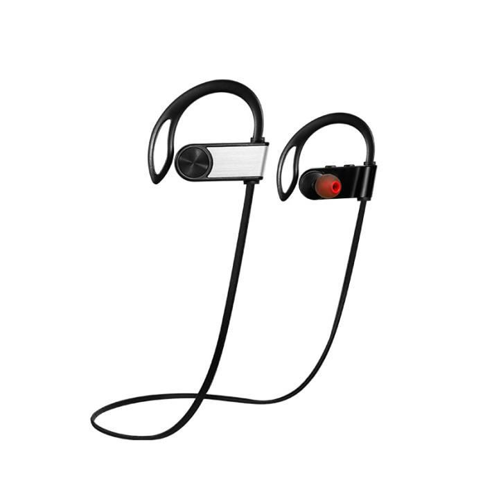 Juce® Ecouteur Bluetooth Casque De Sport Oreillette Sans Fil Stéréo Compatible Iphone Android Et Appareils - Argent