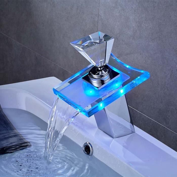 Auralum Robinet de Lavabo Mitigeur LED de Design Artistique