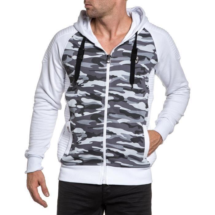Sweat Camouflage Vente Imprimé Et Zippé Achat Homme Blanc Y7vIb6mgyf