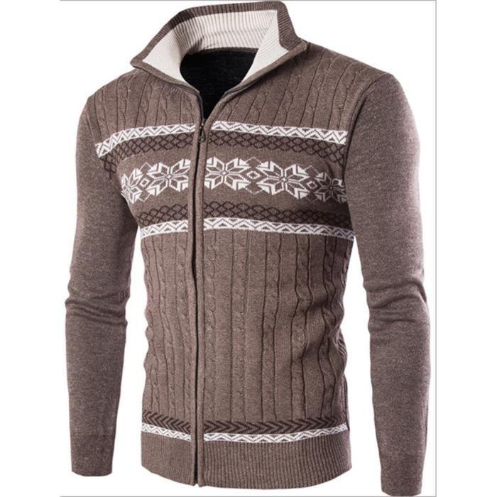 Slim Imprimé Fit Homme Pull Ethnique Zipper Style Pour Manche NwnXPk8O0Z