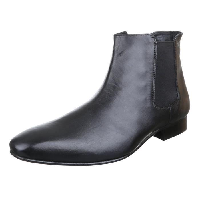 Homme chaussures bottes cuir Chelsea noir 44 Noir Noir