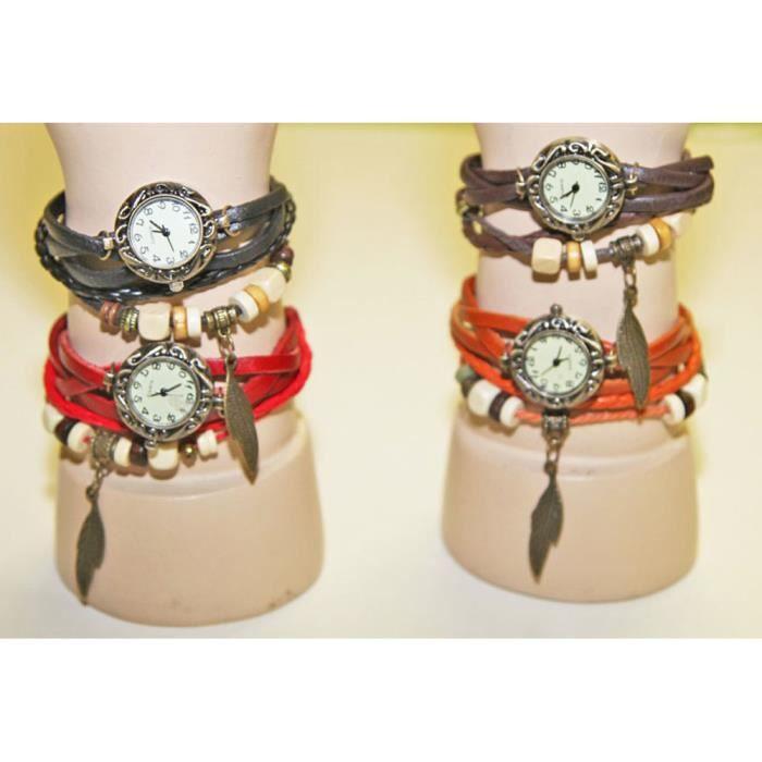 Montre femme vintage bracelet cuir et perles achat vente pas cher - Lot de plumes pas cher ...