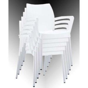 Chaise de jardin en plastique blanc achat vente chaise for Chaise longue jardin plastique blanc