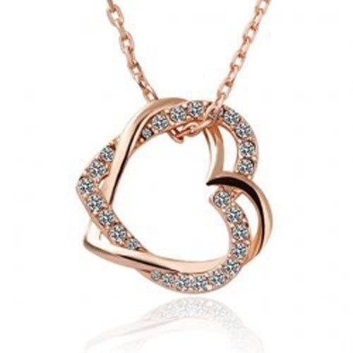 Womens 18k Gold Plated Austrian Crystal Double Heart Pendant (jfnd0425)(valentine Gift) M8SP9