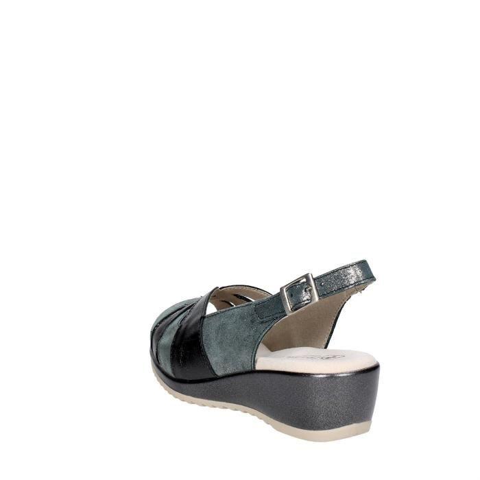 Pitillos Sandale Femme Gris/Noir, 41