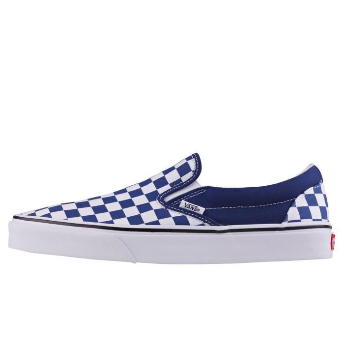 Vans Classic Slip-on Checkerboard Hommes Chaussures sans lacets Royal Blanc - 11 UK